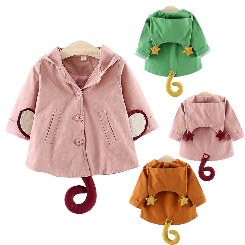 2019 New Arrivals Autumn Girls   Trench   Cute Star Monkey Tail Hoodie Toodler Girls Jacket Infant Baby Girls Button Coat Outwear