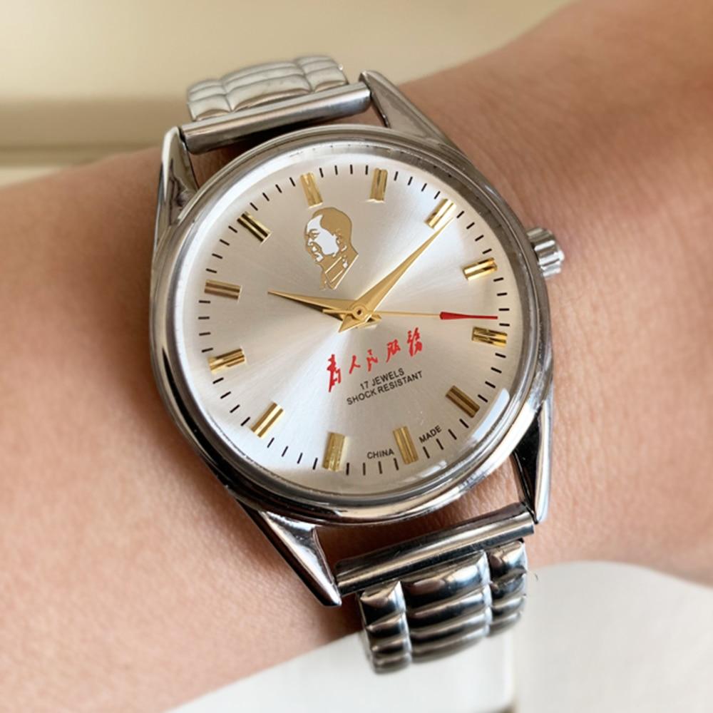 Antique Mechanical Hand Wind Watch Men Stainless Steel Limited Edition Watches Mens ShangHai Wristwatches Men Reojes De Hombre