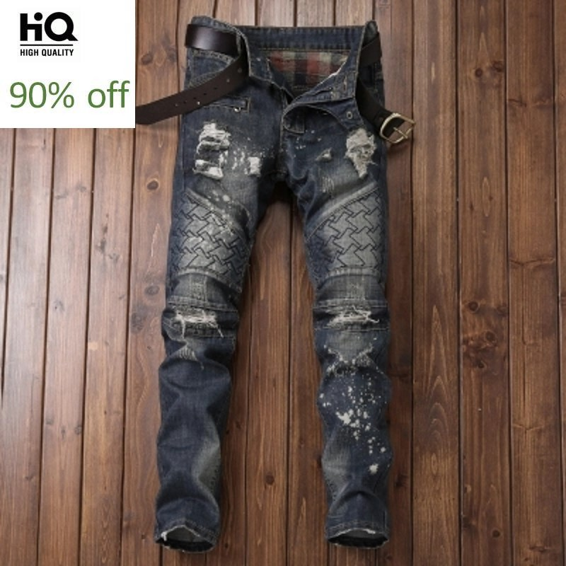 Male Fashion Jeans For Men Classical 2020 Spring Cowboy Pants Man Straight Full Length Motor Men's Jean Hole Ripped Jean For Man