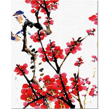 RUOPOTY 60x75cm Frame DIY Painting By Numbers For Adults Chinese Painting Plum Blossom Flowers Coloring By Numbers For Gift Art