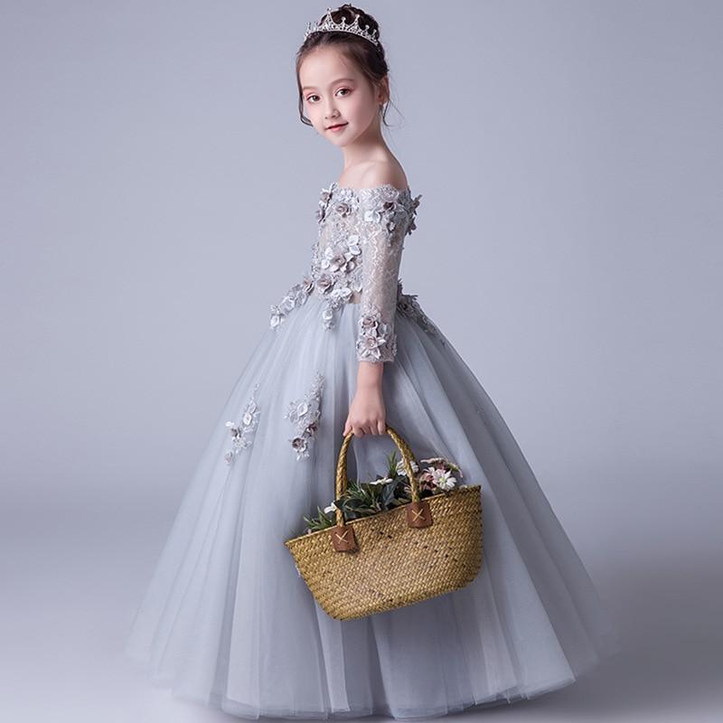 Girl'S Gown Off-Shoulder Long Skirts Piano Costume Princess Tutu Flower Boys/Flower Girls Birthday Host Late Formal Dress