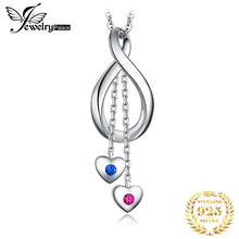 JPalace Heart Created Ruby Sapphire Pendant Necklace 925 Sterling Silver Gemstone Choker Statement Women Without Chain