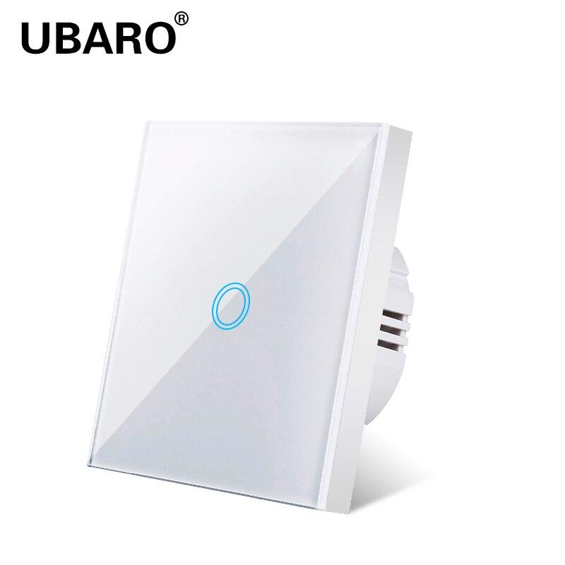 UBARO Light Switch Eu Standard White Crystal Glass Panel Touch Switch Ac230v Switch  1 Gang 1 Way Wall Touch Switch