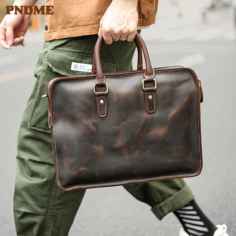 PNDME Fashion Vintage Genuine Leather Men's Briefcase Business Casual High Quality Cowhide Luxury Office Laptop Messenger Bags
