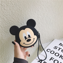 Kawaii Mickey Mouse Wallet Women Silicone Clutch Bag Kids Cute Cartoon Stylish Mini Purse Soft Earphone Box For Airpods Case