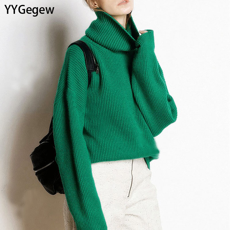YYGegew  Wool Women's Sweater Autumn Winter Warm Turtlenecks Casual Loose Oversized Lady Sweaters Knitted Pullover Top Pull Femm