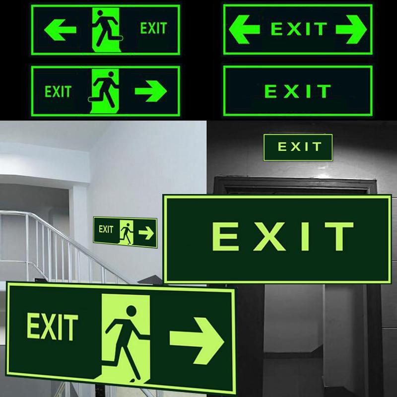 Safety Exit Sign Warning Guidance Signage Luminous Glow In Dark Sticker For Stairway Hallway Hotel Basement Night Vision