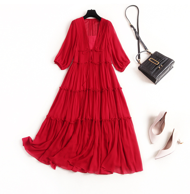 Natural Silk Dress Beach Style  V-Neck Robe Ete Rouge Long Dress with A Sleeve Summer Women's Costumes women's dresses long