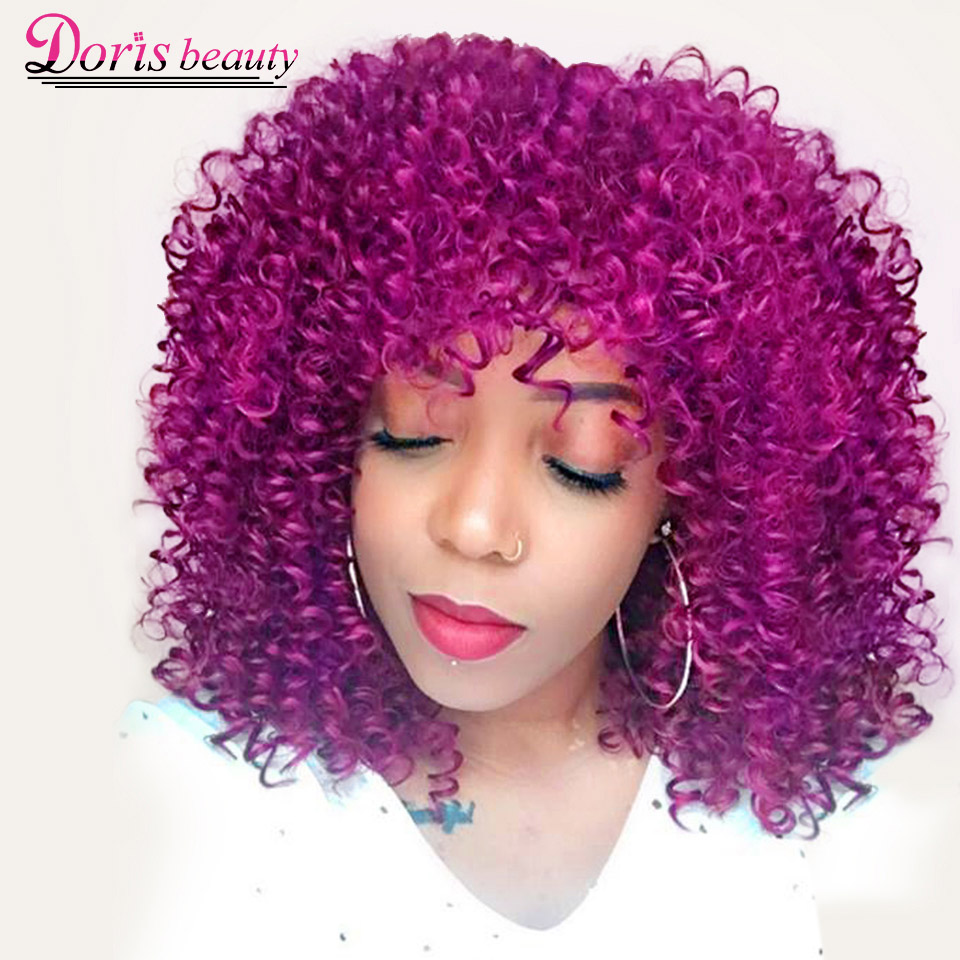 Doris beauty Purple Afro Curly <font><b>Wigs</b></font> for African American Women 12'' Synthetic <font><b>Short</b></font> <font><b>Wig</b></font> Natural Hair Bangs Ombre <font><b>Pink</b></font> Magenta image