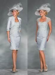 Серебро 2019 платья для матери невесты Оболочка с курткой Аппликации из тафты Плюс Размер жениха короткие платья для матери на свадьбу