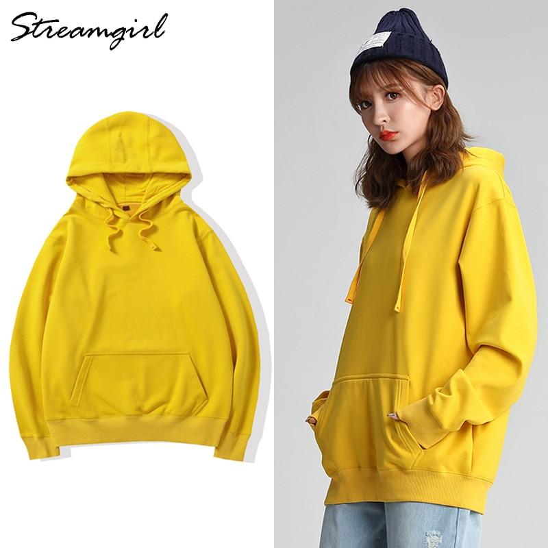 Korean Oversized Hoodie Women Sweatshirts And Hoodies Female Cotton Pink Hoodie Women Yellow Sweatshirts Boyfriends Plus Size