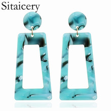 Sitaicery Personality 2019 Trapezoid Large Long Acrylic Acetate Drop Earrings For Women Rectangle Tortoiseshell Earring Jewelry
