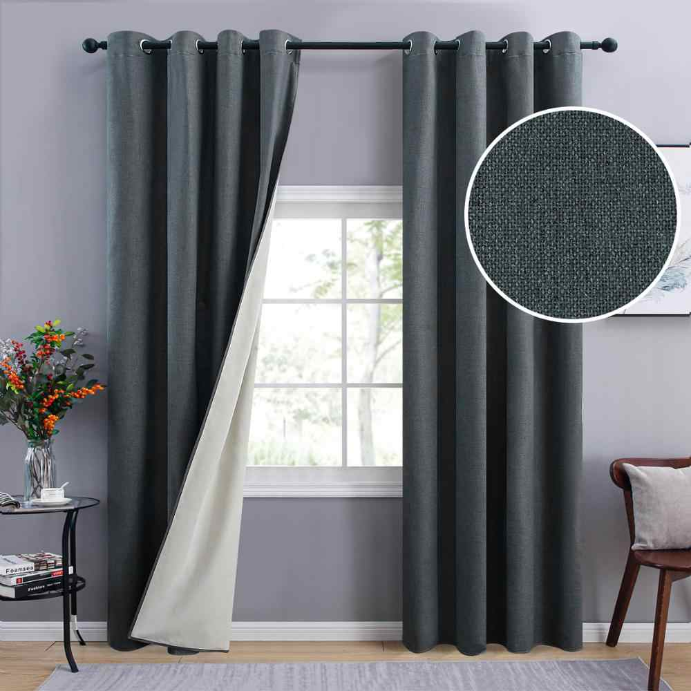 Yokistg Solid Color Linen 100 Blackout Curtains For Lving Room Thickening Soundproof Curtains For Bedroom Window Drapes Curtains Aliexpress