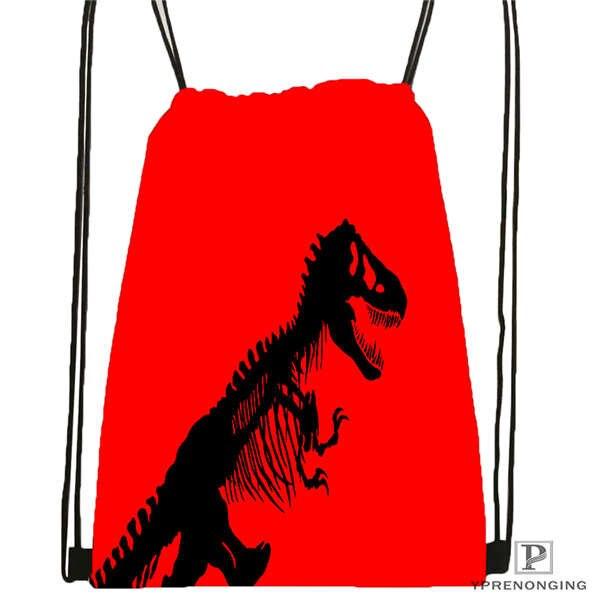 Custom Jurassic-Park  Drawstring Backpack Bag Cute Daypack Kids Satchel (Black Back) 31x40cm#2018612-01-23