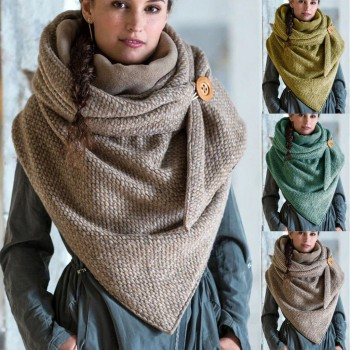 2020 Fashion Winter Women Scarf Soild Dot Printing Button Wrap Casual Warm Scarves Shawls Comfortable Soft Шарф