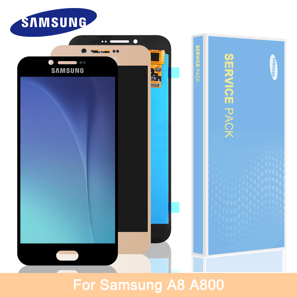 Original Super AMOLED For 5.7 Samsung Galaxy A8 2016 LCD Display Screen + Touch Screen Panel Digitizer Replacement For A810 LCD image