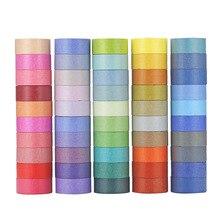 60 רולס/הרבה קשת צבעים בוהקים Washi קלטת 1.5cm רוחב קישוט מיסוך קלטות יומן אלבום תמונות מדבקות מתנת מכתבים כלים