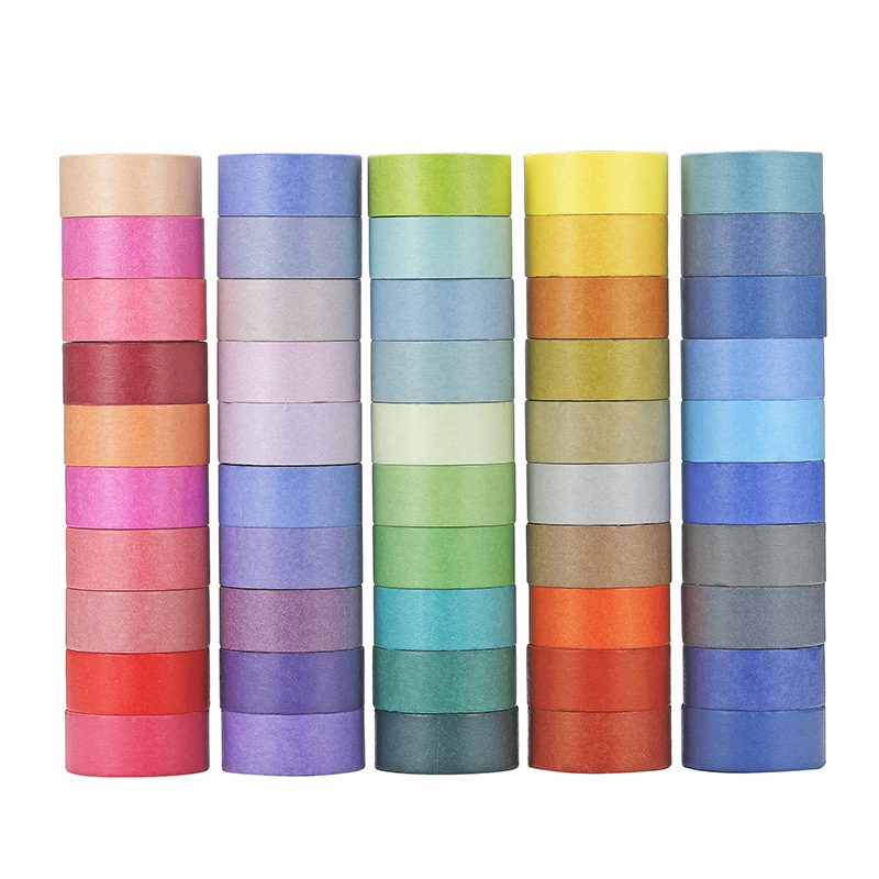 60Rolls/Lot Rainbow Candy Color Washi Tape 1.5cm Width Decoration Masking Tapes Diary Photo Album Stickers Gift Stationery Tools
