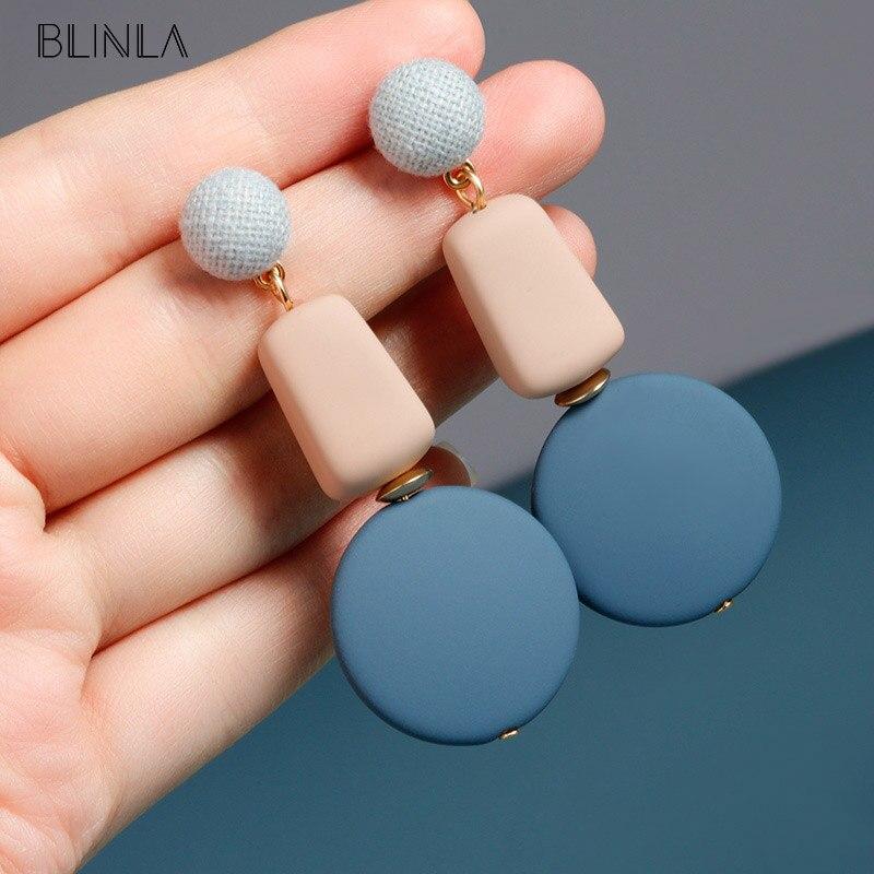 BLINLA New Fashion Korean Wooden Dangle Drop Earrings for Women Statement Geometric Blue Round Long Earring 2019 Wedding Jewelry