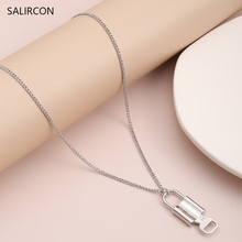 Salircon Punk Key Lock Pendant Couple Necklace Women Lover Goth Silver Color Link Chain Long Necklace Minimalist Wedding Jewelry silver link luminous stone pendant necklace long chain moon pendant glow in dark hollow women necklace pendants jewelry