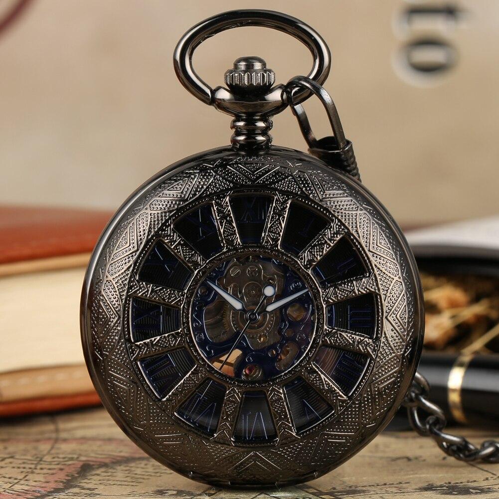Antique Mechanical Hand Wind Pocket Watch Fob Chain Pendant Watches Roman Number Dial Skeleton Steampunk Clock Reloj De Bolsillo