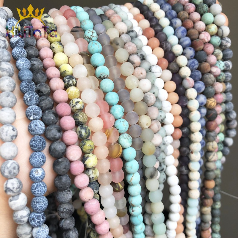 Natural Matte Frosted Jaspers Agates Amazonite Jades Quartz Turquoises Stone Round Spacer Bead For Jewelry Making DIY Accessorie(China)