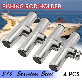 New 4 Pieces Stainless Steel Fishing Rod Holder Clamp-on for 7/8'' to 1'' Rails for Boat fishing rod holder 9 inch clamp on 360 degree adjustable fishing rod holder clamp to fit 7 8 inch to 1 inch tube with pin we