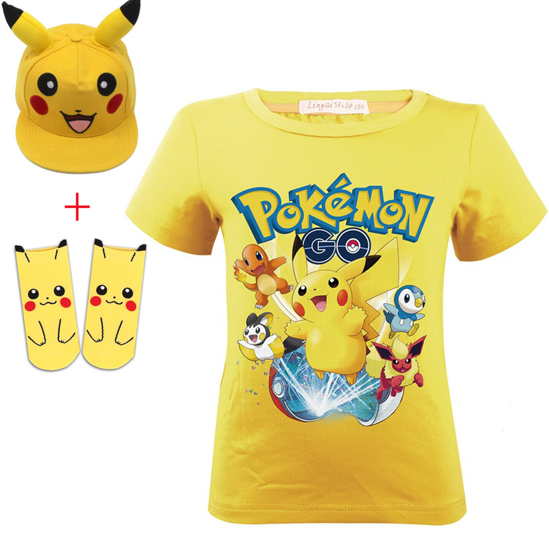 Summer Girls Boy TShirt Pokemon Detective 2019 Pikachu Gift Cute Short Sleeve T-shirt Print Tee Children's Cartoon Kids Clothes