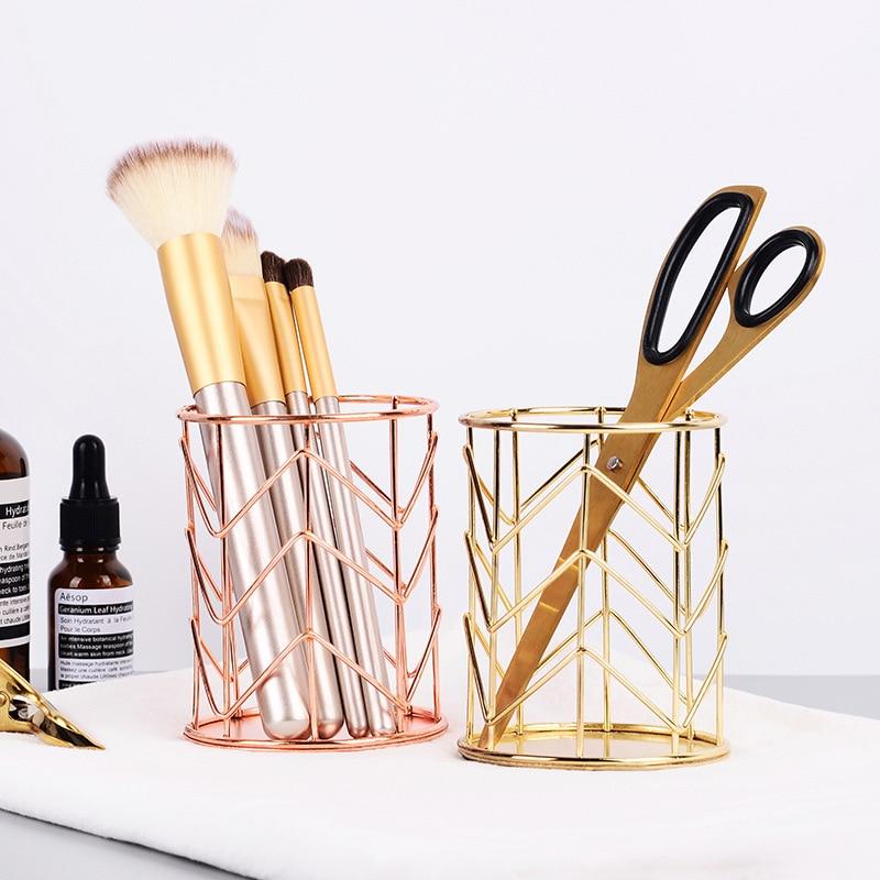 2 Color Cosmetics Storage Box Cylindrical Box Lipstick Brush Pen Holder Storage Tube Dressing Table Rose Gold Iron Art