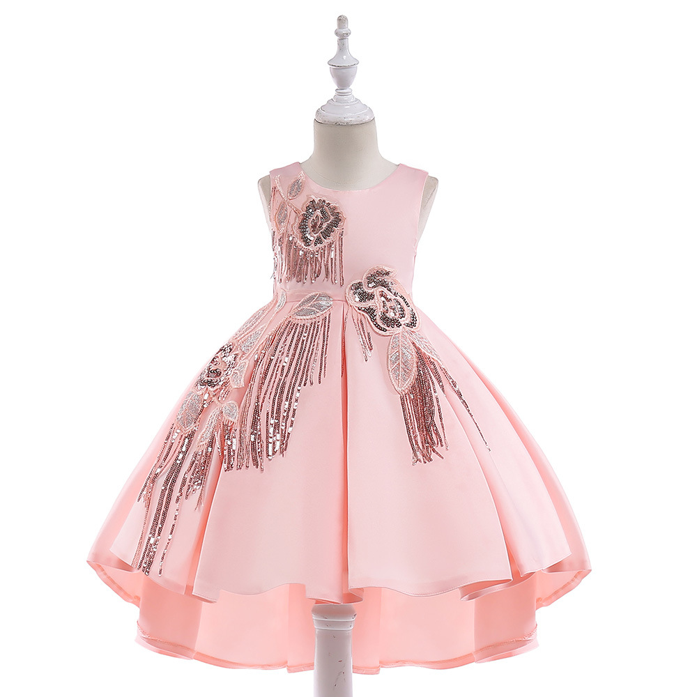 2019 Foreign Trade New Style Girl Princess Dress Girls Tassels Tailing Dress Children Wedding Dress Performance Dress