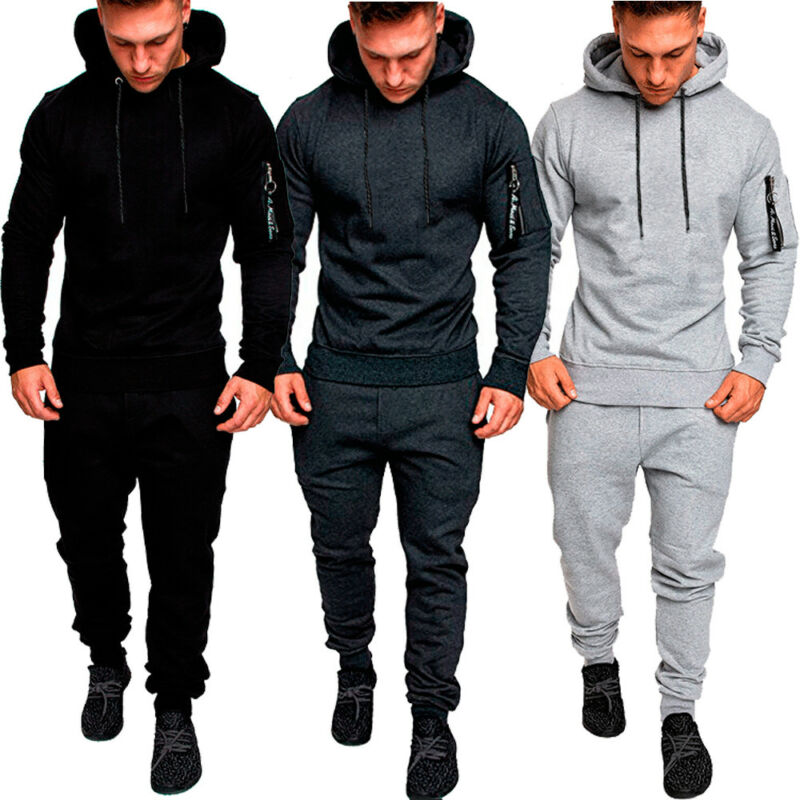 Fashion Men Slim Fit Tracksuit Top Bottom Sport Gym Skinny Jogging Sweat Suit Trousers Pant Hoodie Coat