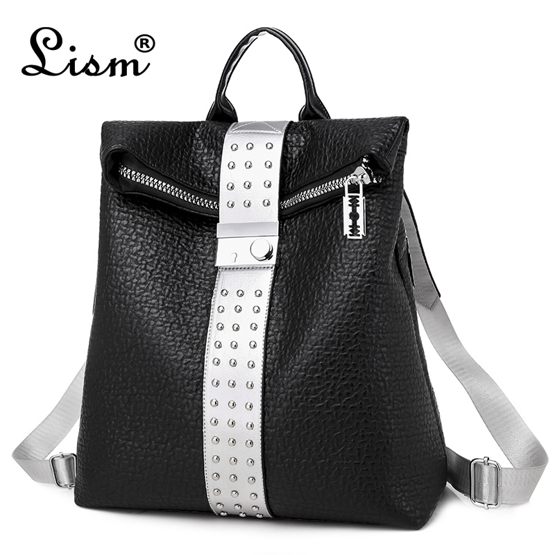 Luxury Brand LISM Female Backpack Anti-theft PU Leather Backpack 2020 Spring New Youth Girl Backpack Black Flagship