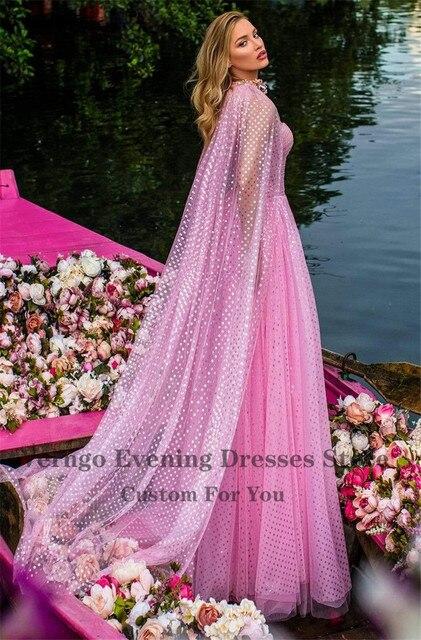 Фото вечернее платье в горошек verngo длинное розовое трапециевидное