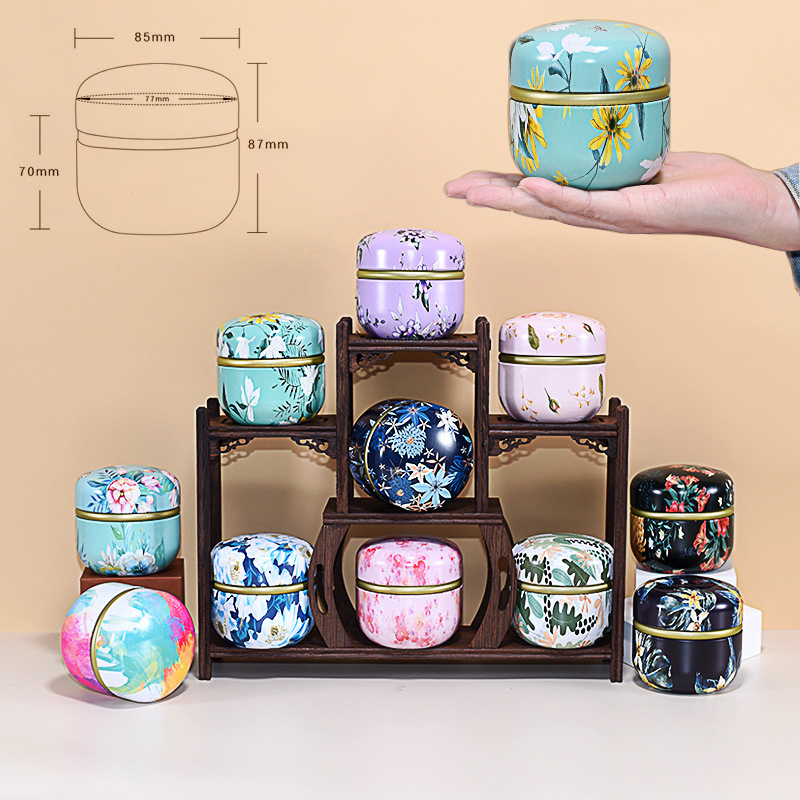 Tea Caddy Tinplate Household Sealed Tea Packaging Box Portable Japanese Style Flower Tea Round Small Tin Containers