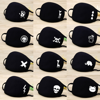Black Anti Dust Fog Cotton Fabric Face Masks Skull Cartoon Breathable Reusable Washable Cycling Mouth Mask Warm Muffle Dustproof