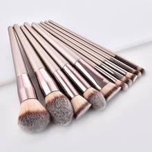 YBLNTEK 10PCS Makeup Brushes Set Wooden Make Up for Foundation Eyeshadow Blusher Powder Concealer Highlighter Tools