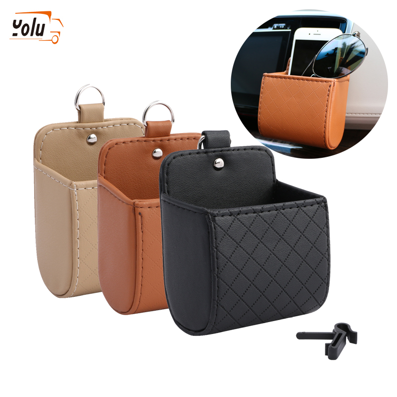 YOLU Car Organizer Box Bag Air Vent Hanging Case Pocket Faux Leather Car Mobile Phone Glasses Holder In Auto Interior Accessorie