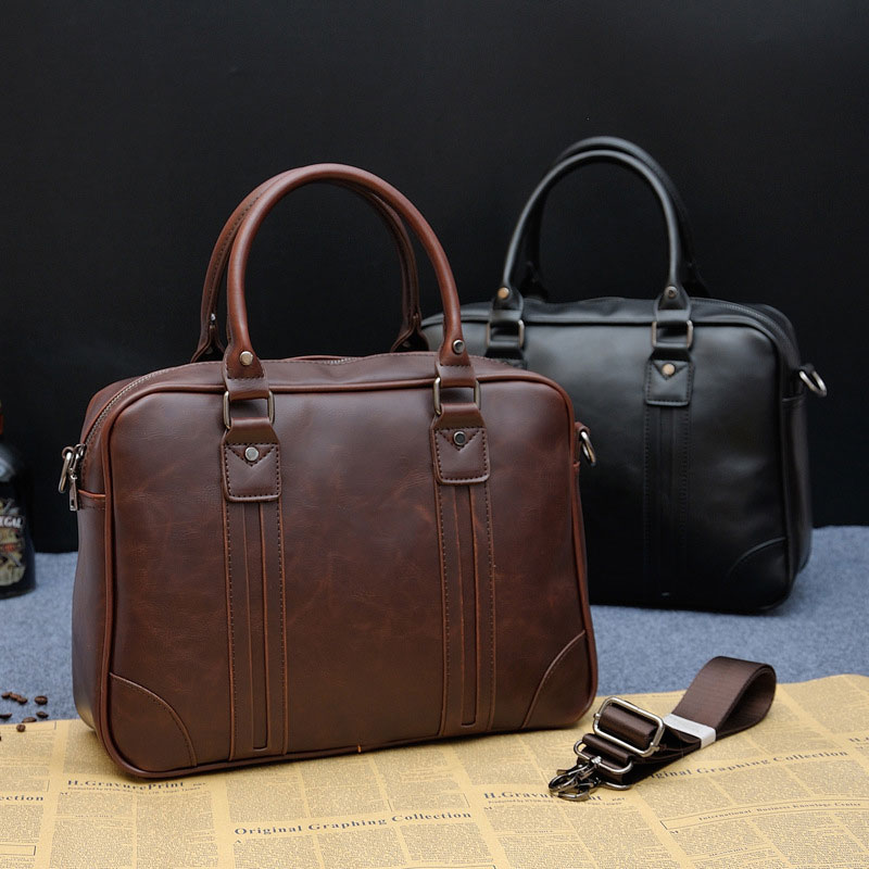 13.3 Inch Business Laptop Briefcase Men Vintage PU Leather Travel Office Handbag Male Luxury Casual Notebook Crossbody Bags H068