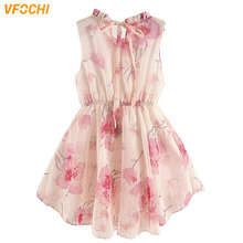 цена на VFOCHI 2020 Girl Dresses Summer Girls Clothes Floral Print Chiffon Baby Girls Dress Fashion Kids Dresses For Girls Party Dress