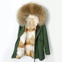 Oftbuy 2020 casaco de inverno feminino casaco de pele real natural forro de pele de lobo parka grosso quente outwear tecido à prova dluxury água luxo novo