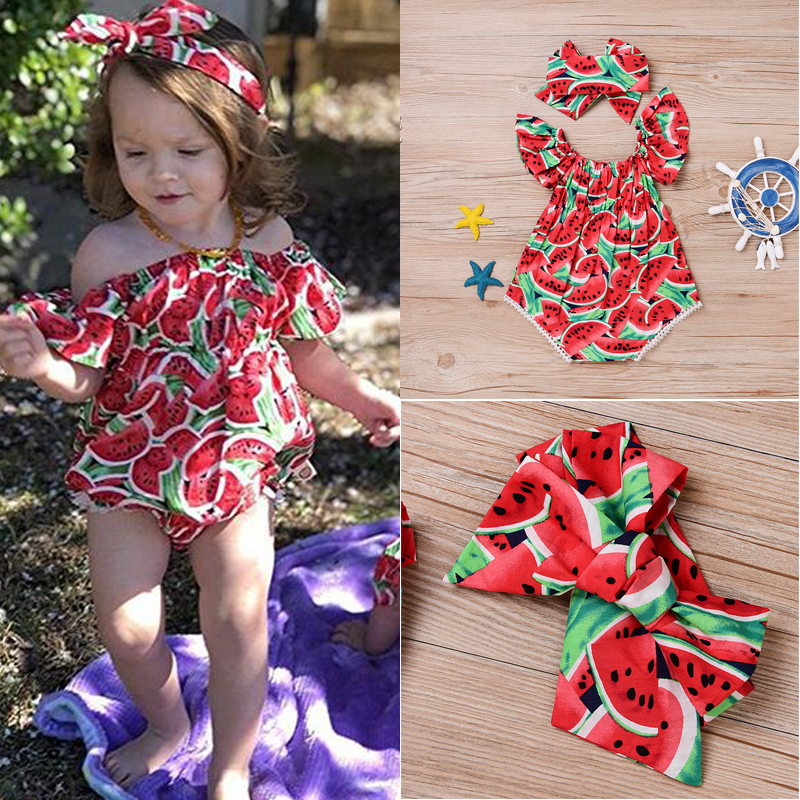 Baby Girl Watermelon Romper 2PCS Outfits Set