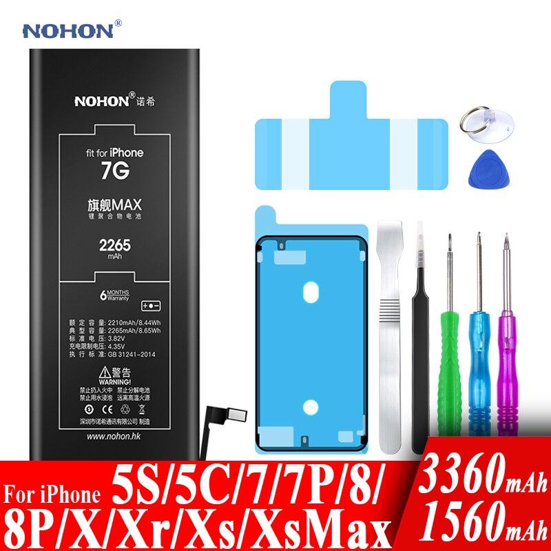 Nohon Battery For Apple iPhone 7 8 Plus 5s 5c X Xr Xs Max 7Plus 7P 8P iPhone7 1560-3360mAh Bateria +Tools For iPhone 5s 8 7 Plus