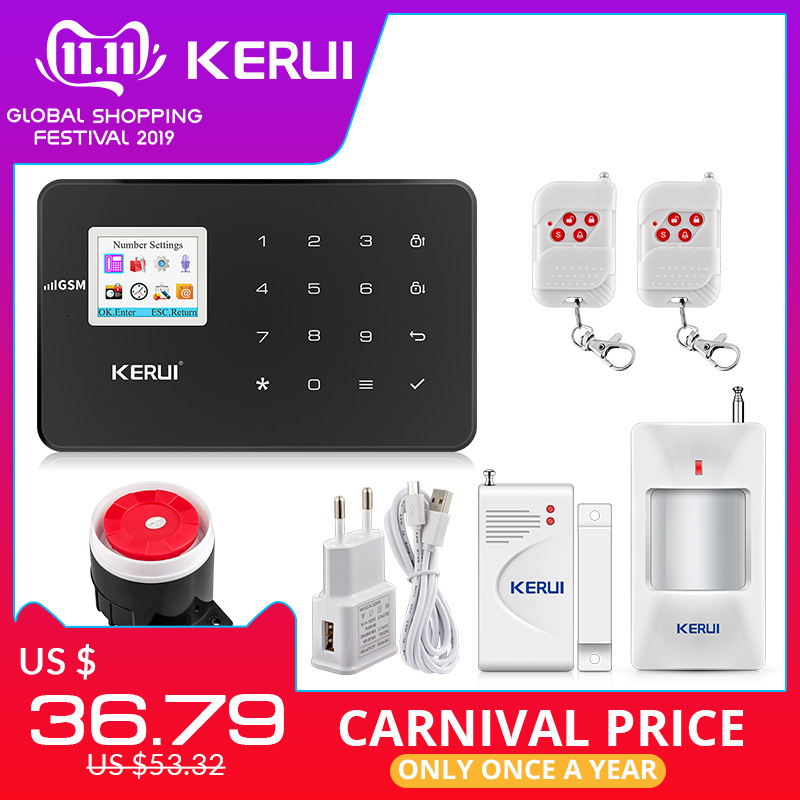 KERUI G18 Black Panel Wireless GSM Home Security Alarm System Burglar Alarm Sensor Kit Android IOS Phone APP Remote Control