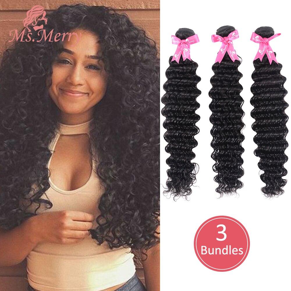 "Ms.Merry Hair Bundles Loose Wave/Deep Wave Bundles Hair Weave 1//2/3/ Piece 8-30"" Brazilian Virgin Human Hair for Black Women"