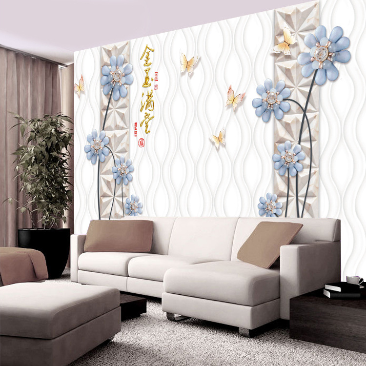 Chinese Style Simple Butterfly Flower Coloured Sculpture 3D Television Sofa TV Backdrop Living Room Library Wallpaper Mural