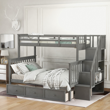 Twin-Over-Full Bunk Bed With Drawer Storage   1