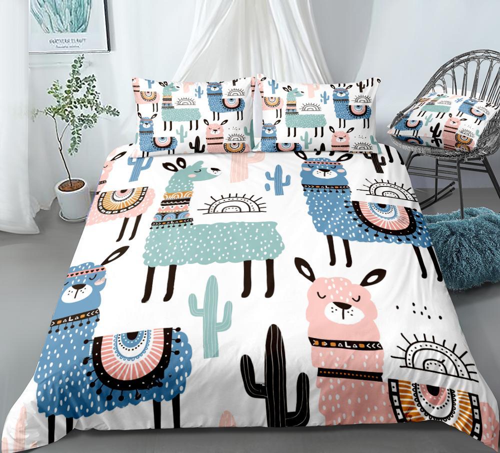Cartoon Alpaca Duvet Cover Set Colorful Cactus Bedding Kids Boys Girls Animal Quilt Cover Queen Bed Set 3pcs King Dropship