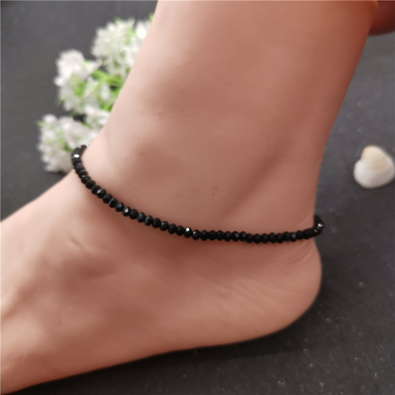 New Arrival Black 3mm Crystal Beads Anklet for Women Bohemian Female Beach Ankle Bracelet on Leg 2019 Foot Jewelry Enkelbandje