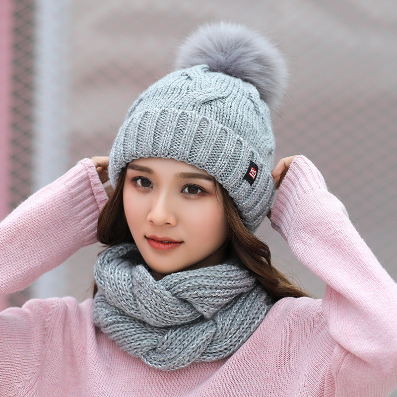 Winter Hat And Scarf Set Women Knitted Thick Warm Beanies Hat Scarf Female For Girls Pom Pom Beain Hats Solid Color