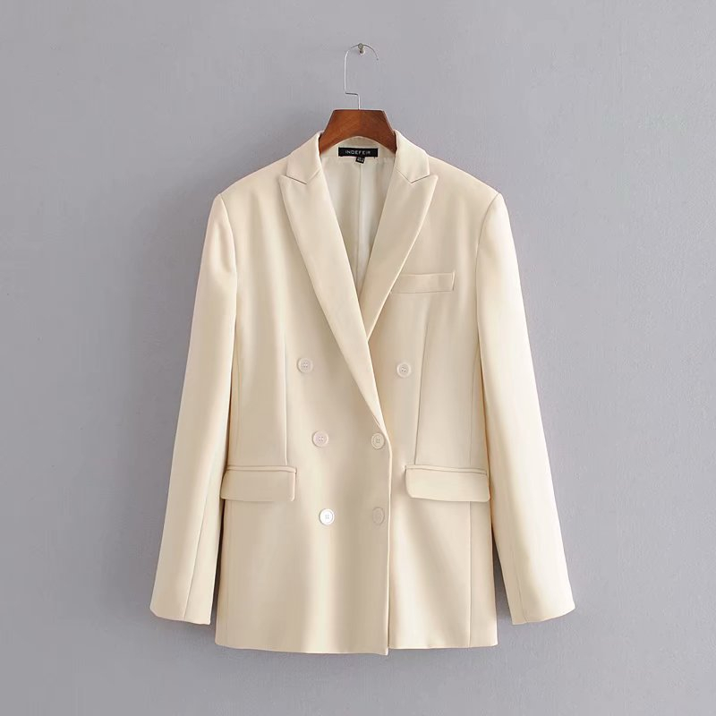2020 Blazer Women White Summer Autumn Blazer Double Breasted Coat Outerwear Elegant Ladies Chic Tops Casual Formal Suit Jackets